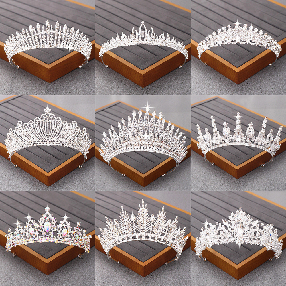 Bridal Tiara Hair <font><b>Crown</b></font> Wedding Hair Accessories Bridal Rhinestone Crystal <font><b>Crown</b></font> <font><b>Princess</b></font> Girl Tiaras Silver Hair Jewelry Diadem image