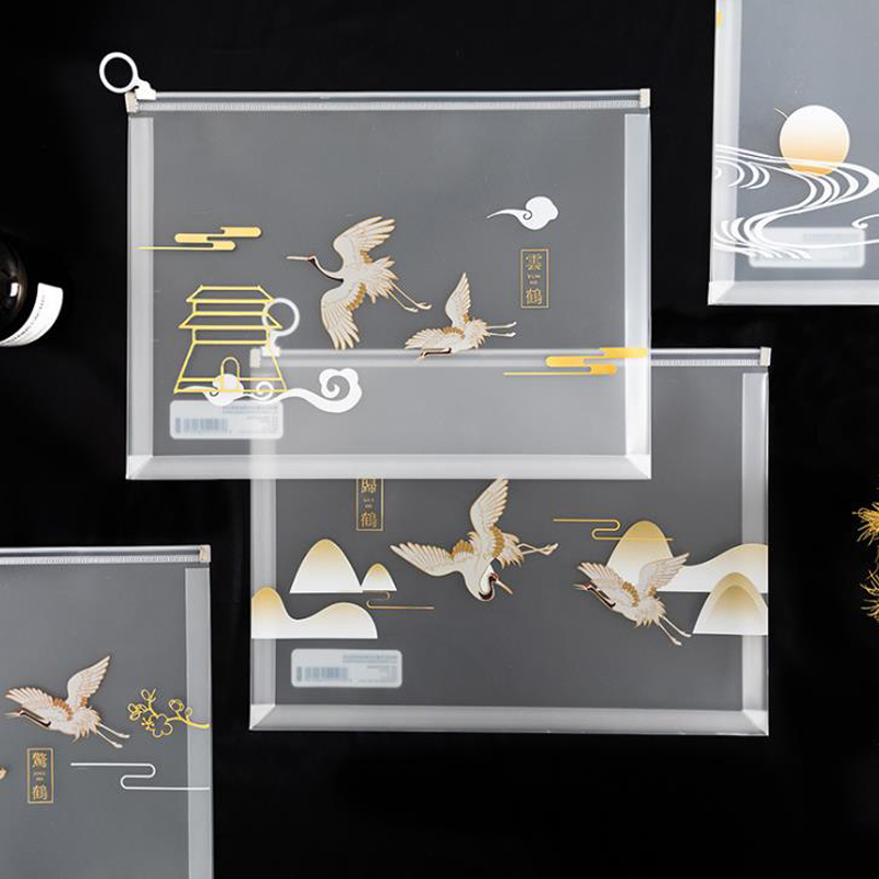 1 Pcs Cute A4 Animal Blue Whale Crane Transparent PP Document Bags File Folder Storage Organizer School Stationery Gifts
