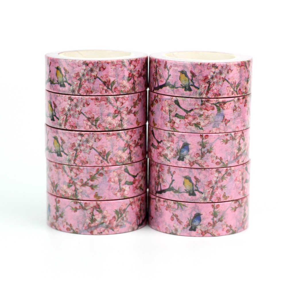 Wholesale 10pcs/lot Decor Cute Birds On Flowers Washi Tapes DIY Scrapbooking Planner Adhesive Masking Tapes Kawaii Stationery