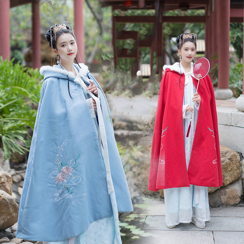 Hanfu Cloak Women Follow Embroidery Autumn and Winter Overcoat Folk Festival Rave Outfit Hooded Performance Clothing DC3427