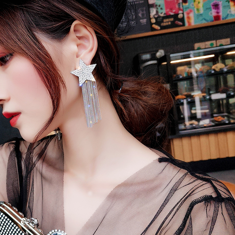H2deb7a27cc934ee0b7cf37cae5d05173u - New Arrival Zinc Alloy Trendy Women Dangle Earrings Star-studded Fringed Earrings Long-style Female Jewelry