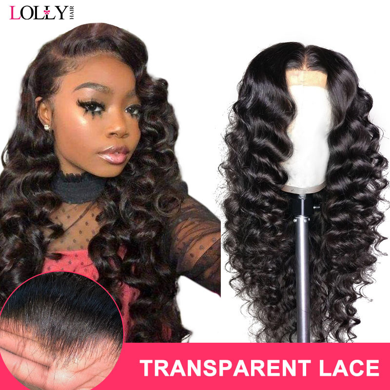 Loose Deep Wave Wig 13x4 150% Malaysian Transparent Lace Front Human Hair Wigs Pre Plucked Remy Human Hair Wigs For Black Women