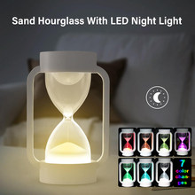 2020 New LED Table Lamp Induction Hourglass Bedside Light Timers Sand Clock Lamp Bedroom Living Room Home Decoration Night Light(China)