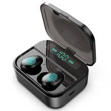 TWS kablosuz kulaklık kablosuz kulaklık kulaklık Mini su geçirmez Headfrees 2200mAh güç bankası ile tüm telefon için