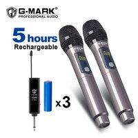 G-MARK-micrófono inalámbrico X220U UHF, dispositivo de grabación portátil para Karaoke, batería de litio de 2 canales, distancia de recepción de 50m