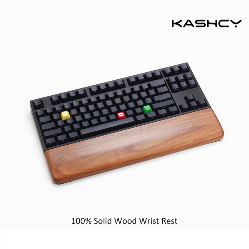 Kashcy Solid Wooden Palm Rest For Ergonomic Gaming Mechanical Keyboard Wrist Support Pad ,60 87 104 108keys