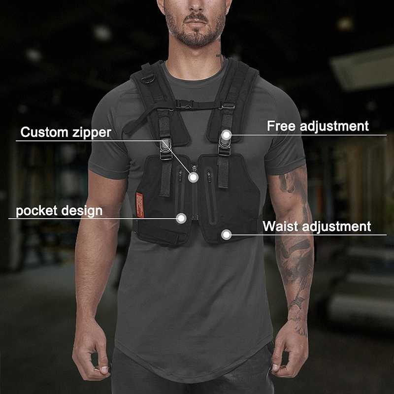ASRV Streetwear chaleco hombres Hip Hop estilo de calle pecho Rig teléfono bolsa de moda Cargo Chaleco con bolsillos