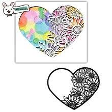 Naifumodo Cutting Dies Metal Sunflower Heart Die Scrapbooking Album Card Making Embossing Stencil Diecuts Decor