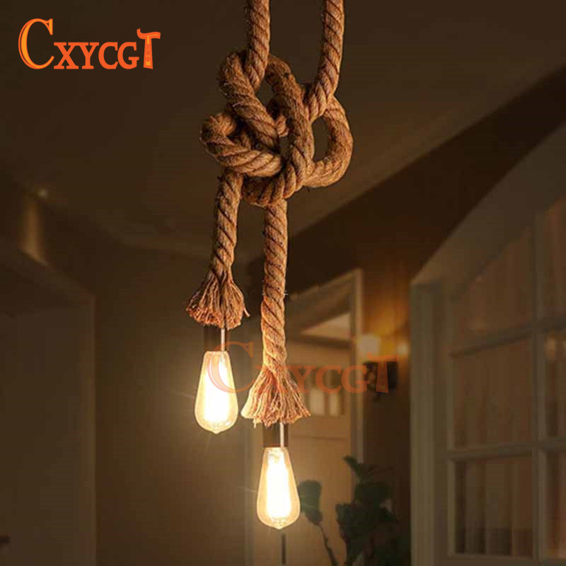 Decor Hemp Pendant Light Lamp Loft Creative Personality Industrial Lamp American Style Line Hanging