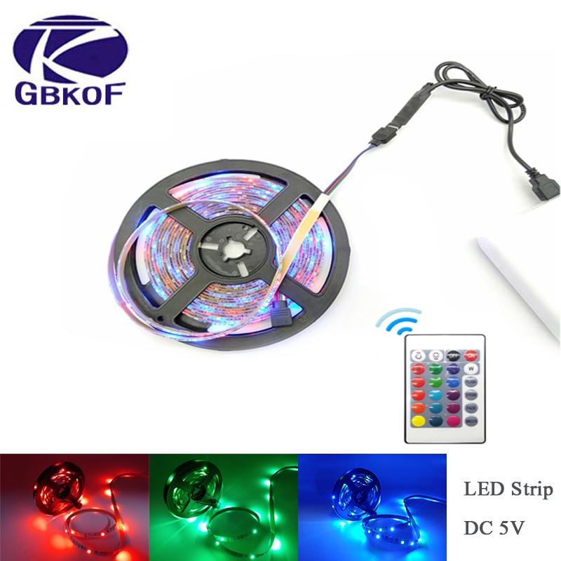 LED Strip Light USB 2835SMD DC5V Flexible LED Lamp Tape Ribbon RGB 0.5M 1M 2M 3M 4M 5M TV Desktop Screen BackLight Diode Tape thumbnail