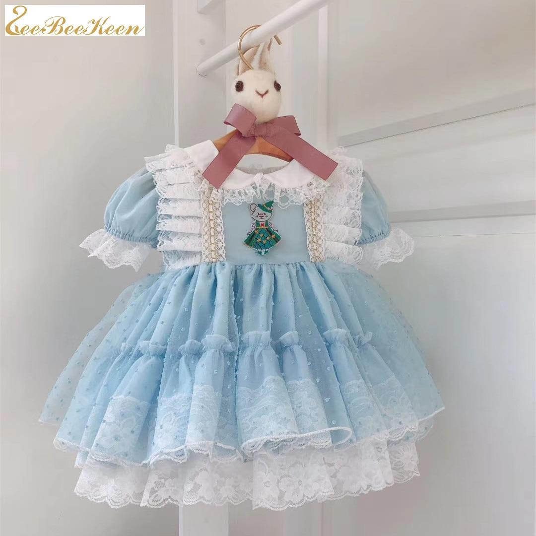 Children Spanish court Princess Dress Baby Girl Lolita Puff Dress Cute baby Dress Girl blue lolita costume sweet lolita dress