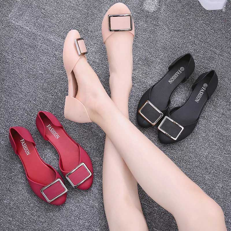 2020 PU Women Flat Shoes Ladies Sandals Metal Decoration Female Solid Woman Comfortable Fashion Casual Women's Shoes Summer