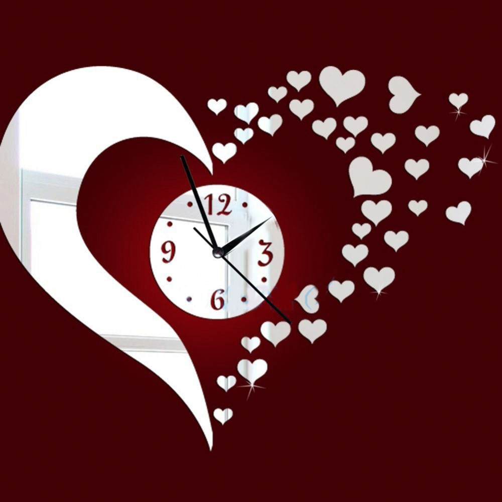 GH New Mirror Lovely Hearts Wall Art Clock Decal DIY Mirror Wall Watch Safe Novelty Home Decoration Kids Clocks Home Decor