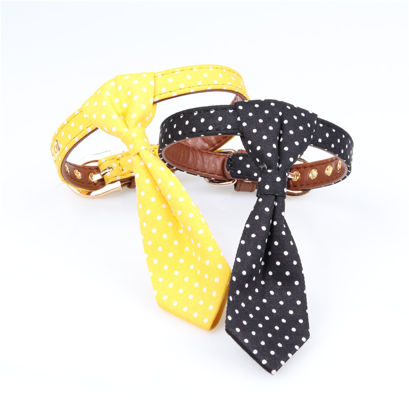 Amin Lattice Pet Accessories Dog Tie Neck Ring Teddy Dotted Bow Puppy Cat Bowtie Neck Ring
