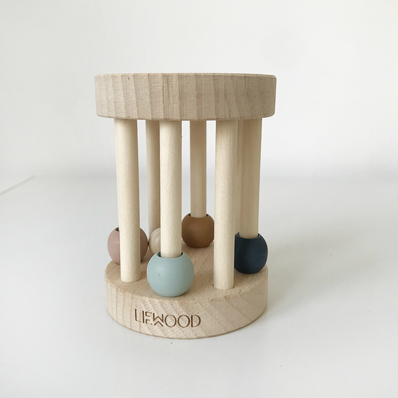 Strong Goods Ins Package Explosive Liewood Export Beech Wood Ring Baby Pure Solid Wood Hand Ring Toy Baby  L