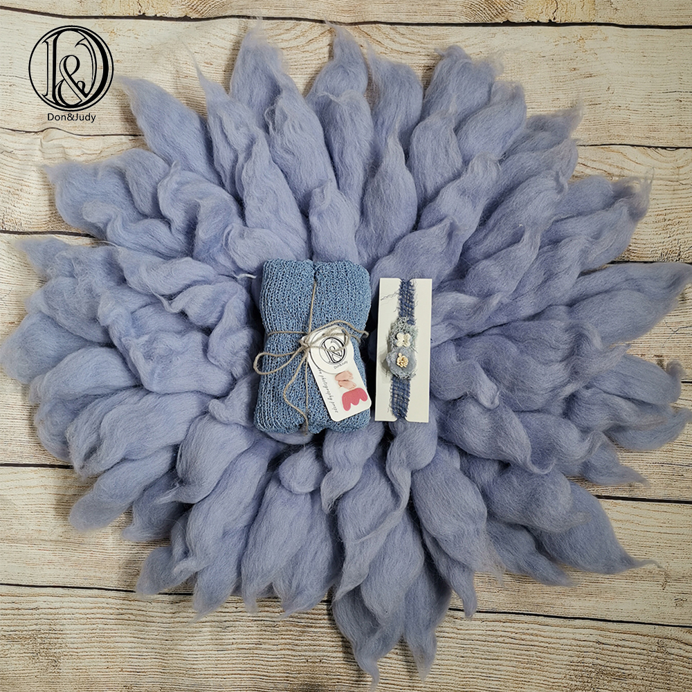 Don&Judy Newborn Photography Props Sets Including 100% Wool Blanket+Wrap+Headwear Baby Photo Shower Gift Photography Accessories