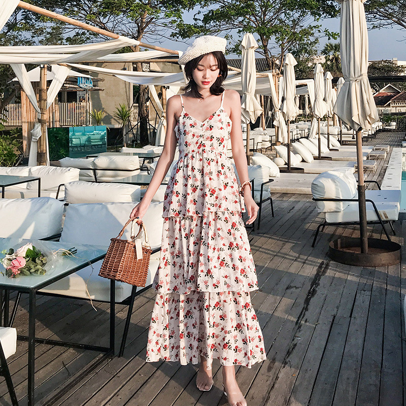 2019 Seaside Thailand Sanya Beach Skirt Strapped Dress Seaside Holiday Floral-Print Chiffon V-neck Dress Fairy