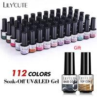 LILYCUTE 112/60/40/20 colori Set di smalti per Gel Set di smalti per Gel ibridi Semi permanenti con Base Top Coat Soak Off Gel per unghie UV