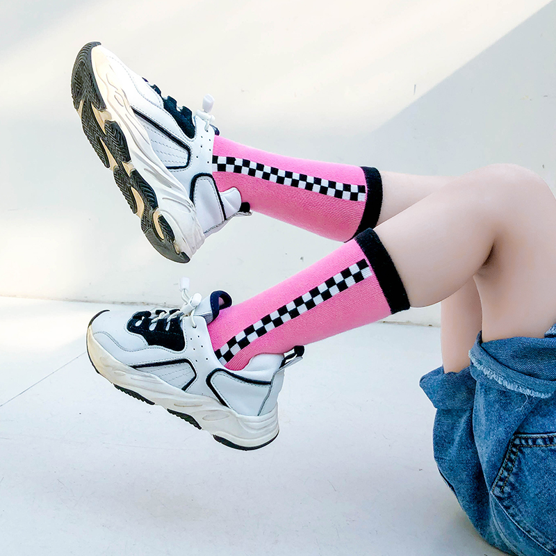 2019 New Fashion Girls Knee-High Socks Kids Geometric Socks For Autumn Baby Toddle Long Socks Check 1-12y