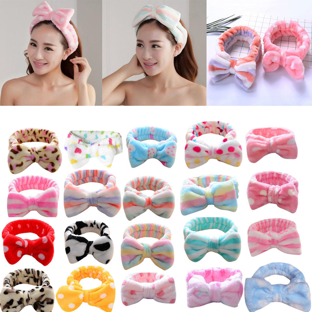 New Arrival Big Bow Dot Striped Soft Towel Hair Band Head Wrap Headband Bath Spa Make Up Female Coral Velvet Bowknot Hairbands