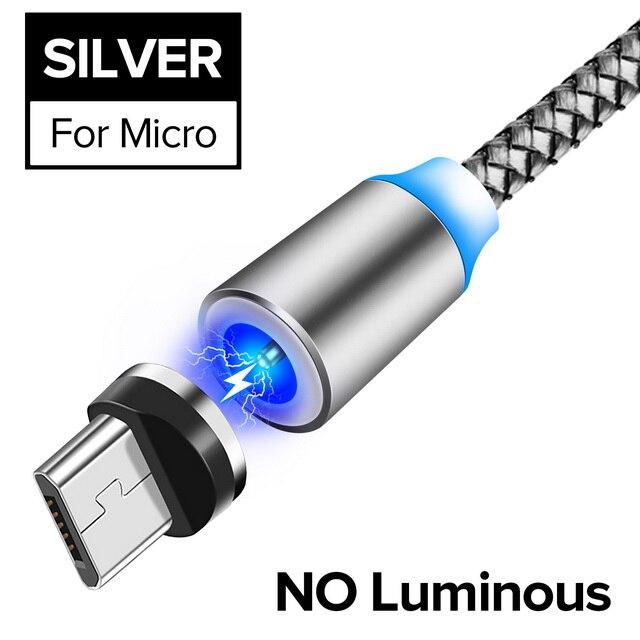 INIU световой поток магнитного освещения USB кабель для iPhone XR X 7 8 микро Тип C зарядное устройство Быстрая зарядка магнит зарядка USB-C тип-c - Цвет: For Micro Silver