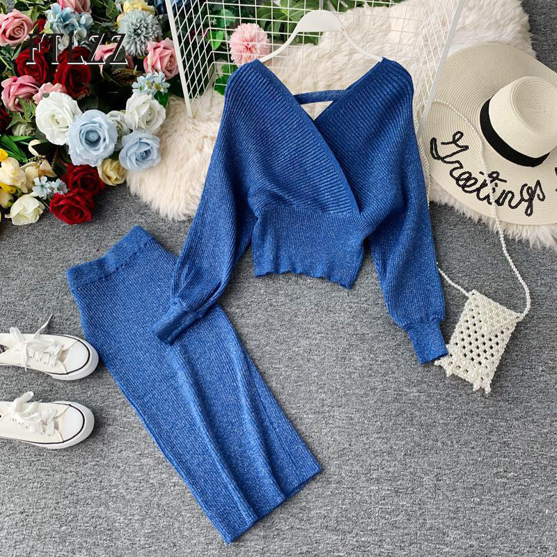 Woman knitted 2 piece sets new 2019 autumn women v-neck sweater top + midi wrap skirt suits women elegant bling outfit tracksuit thumbnail