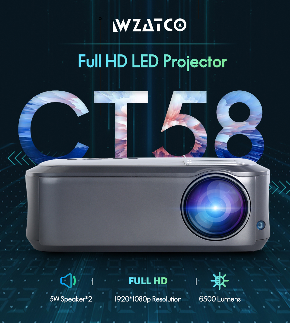 Image 2 - WZATCO CT58 Full HD 1920*1080P Suport AC3 4K Online Video Android 9.0 Wifi Smart  Video LED Projector Proyector For Home Theater-in LCD Projectors from Consumer Electronics