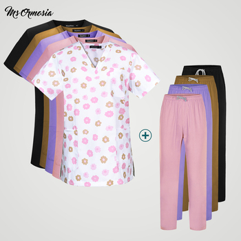 New fashion nursing ladies cotton breathable scrub uniform uniform shirt laboratory pet shop work uniform wholesale Custom logo