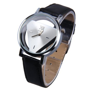 Stainless Steel Hollow Triangule Dial PU Leather Band Quartz Wrist Watch Casual Cool Watch Brand Men Watches weide famous brand mens watch leather strap belt band big black dial stainless steel back quartz movement original gifts for men