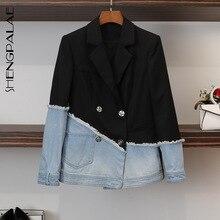 Office Lady Jackets SHENGPALAE Suit Irregular-Coat Women Blazers Business-Splice Spring