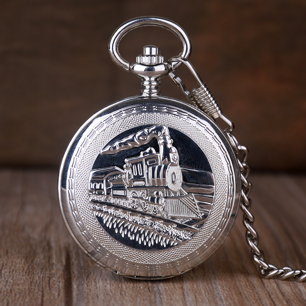Steampunk Mechanical Double Open Pocket Watch Train Sign Design Fashion Stainless Steel Chain For Men Women