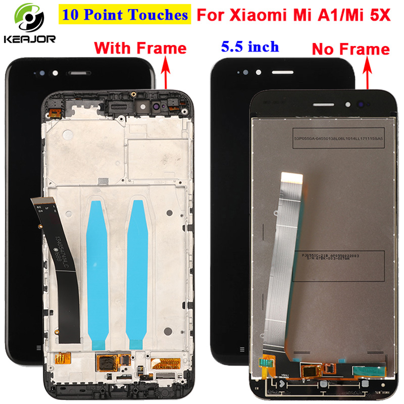 For Xiao Mi A1 MiA1 LCD Display+Touch Screen+Frame With Back Light Button Flex Cable Glass Panel Tools For Xiaomi Mi A1 MiA1 LCD