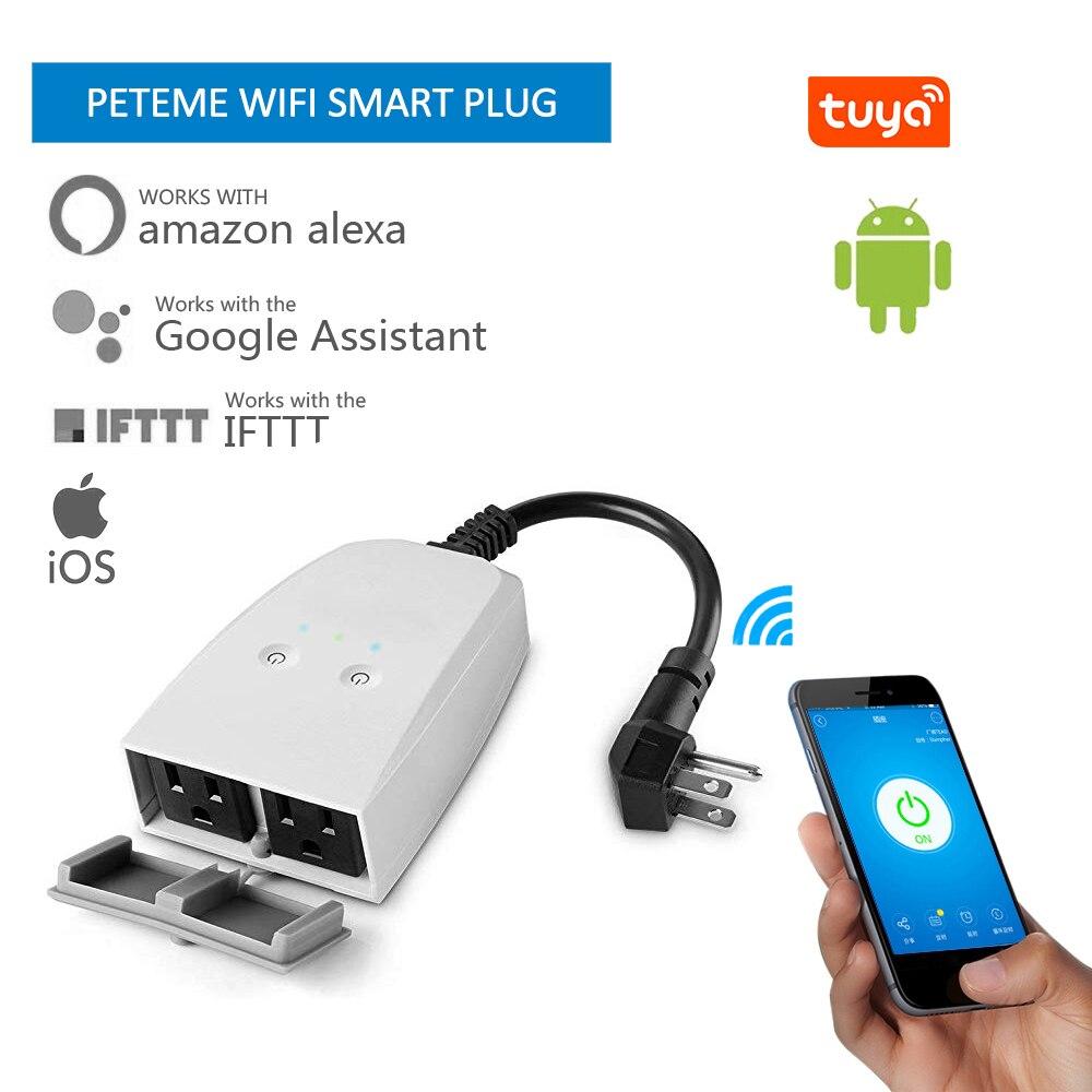 Tuya Tomada Inteligente wifi inteligente tomada À Prova D' Água ao ar livre tomada de ajuste do tempo de saída remoto Compatível com Alexa Inicial do Google IFTTT