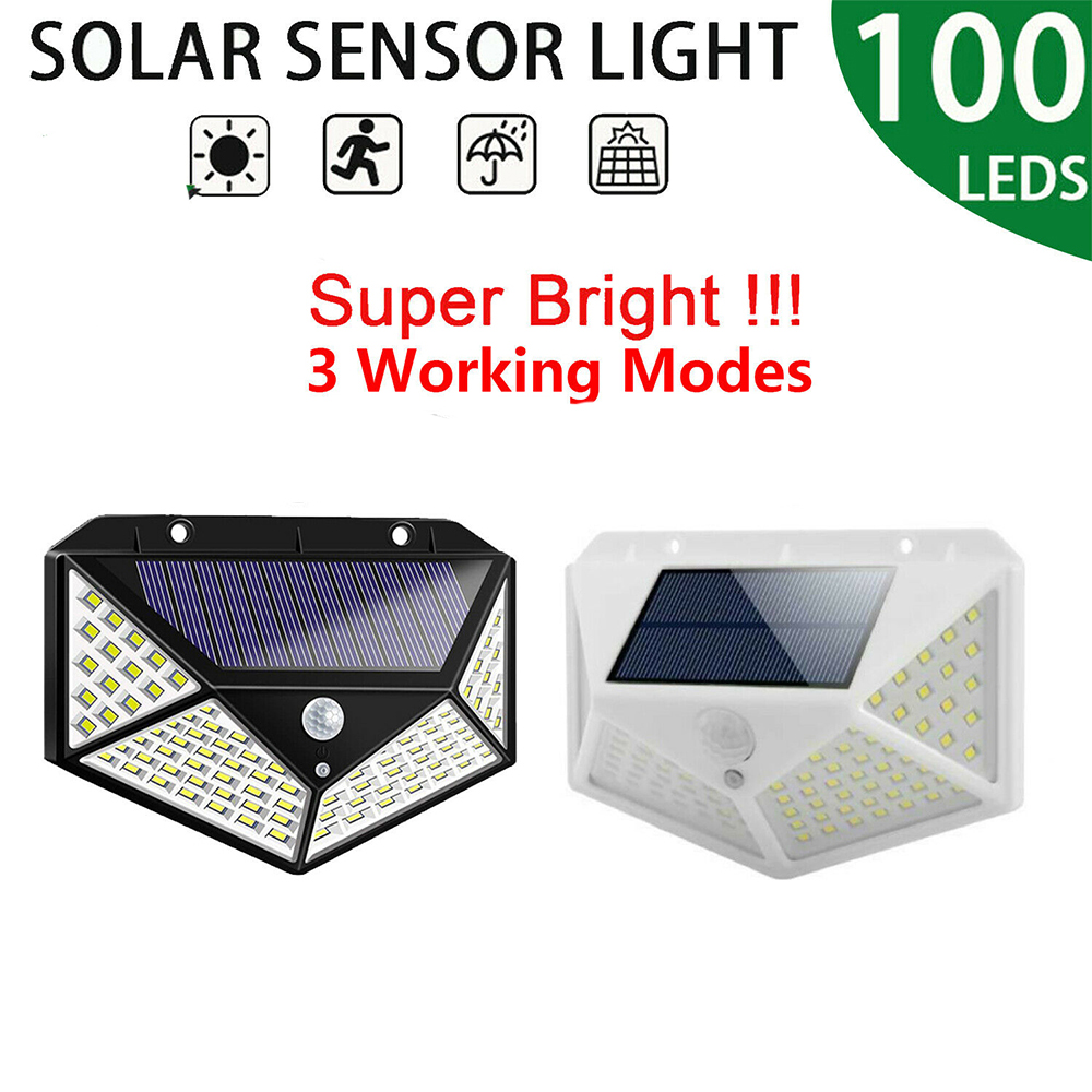 1200 MAh 100 LEDs Outdoor Solar Light PIR Motion Sensor Garden Light Energy Save Street Path Wall Lamp Sunlight 3 Sided Luminous