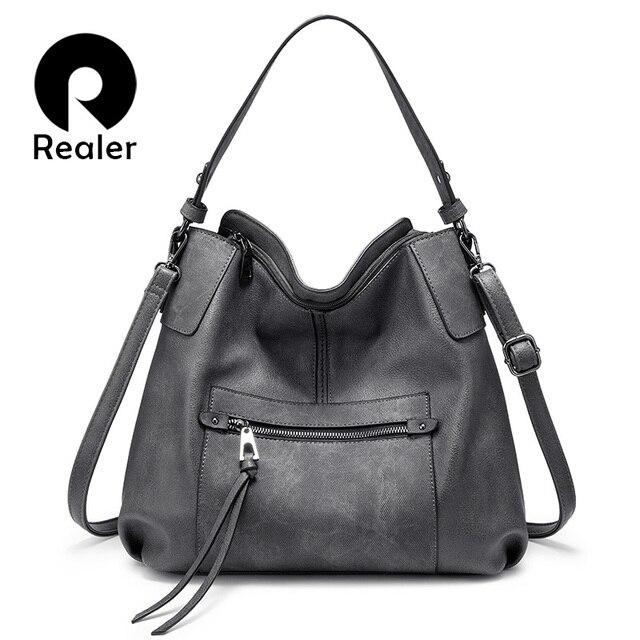 REALER kadın omuzdan askili çanta büyük hobos tote çanta çapraz postacı çantası kadınlar için 2019 lüks çanta PU deri gri el çantası