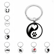 2019 New Yin and Yang Dog Key Ring Cute Anime Cartoon Pet Claw 25mm Glass Convex Round Gift Jewelry