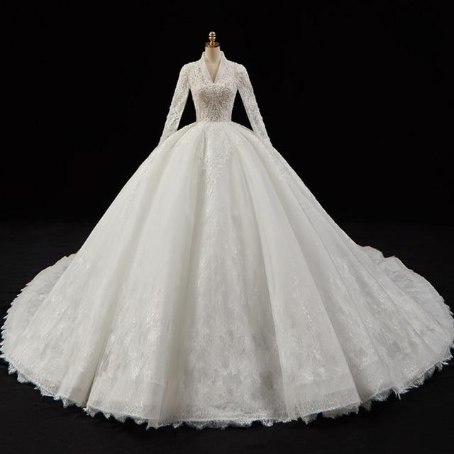 크리스탈 진주 Appliques 레이스 화려한 볼 가운 웨딩 드레스 v 목 긴 소매 럭셔리 브라 가운