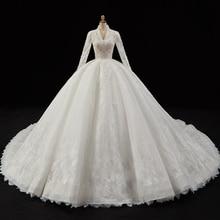 Apliques de perlas de cristal de encaje precioso vestido de bola vestidos de boda Aliexpress Inicio de sesión cuello pico manga larga de lujo vestido de novia China
