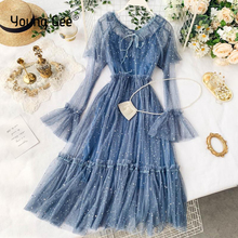 Young Gee Elegant Mesh Lace Embroider Women Dress Bow Collar Flare Sleeve Party Dresses Sexy Elastic Waist Midi vestido