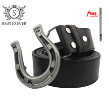 Silver Horseshoe U Shape Belt Buckle for Men Metal with Leather Jeans Accessories Drop Shipping