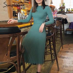 Image 5 - Simplee 솔리드 스트라이프 니트 드레스 여성 오 넥 긴 소매 우아한 bodycon 드레스 여성 컬러 pleated 가을 겨울 섹시한 드레스