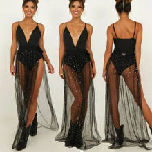 Women See-through Cover-Ups Sexy Spaghetti Strap V-neck Dress Beach Bikini Cover up Swim Wrap Sarong Tassel Cover Dress S-L(China)