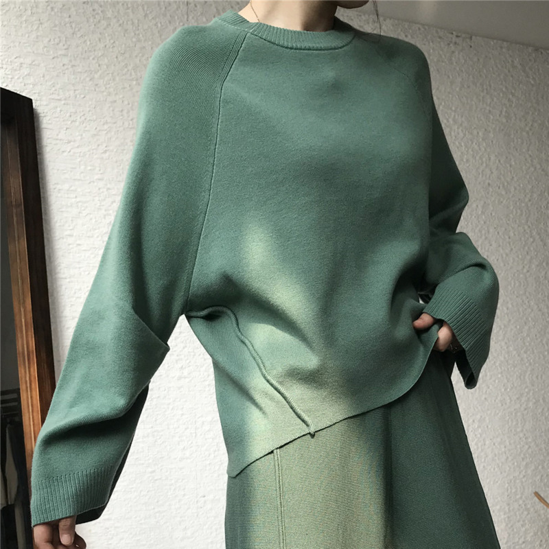 LANMREM 2020 Spring New Fashion Retro Round Neck Solid Color Wool Blend Shirt Short Pullover Sweater Women PB414