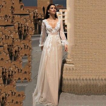Lace Applique A-Line Ruffle Wedding Dress Puff Sleeves Tulle Boho Gowns Vestido De Novia V Neck Bride Dresses Brautkleid - discount item  25% OFF Wedding Dresses