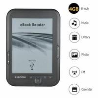 Hot 3C 6 Inch 4GB Ebook Reader E Ink Capacitive E Book Light Eink Screen E Book E Ink E Reader MP3 with Case, WMA PDF HTML