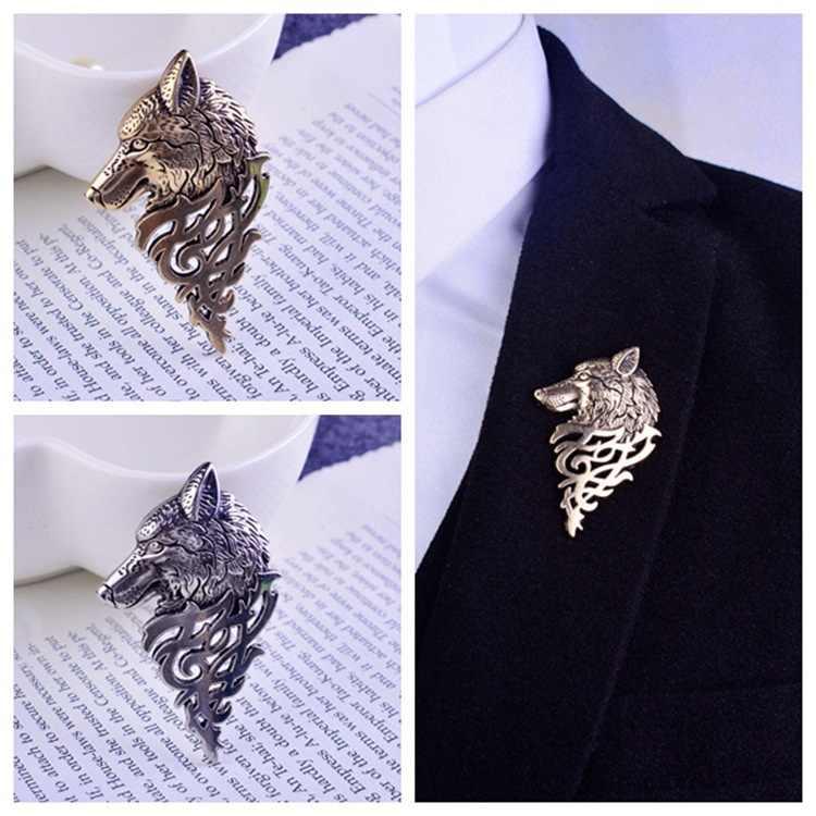 Retro Oro Argento del Metallo Lupo Spilla Spille Dei Monili per Gli Uomini Prepotente Cava Lupo Spilla Retro Personalità di Business Camicia Distintivo