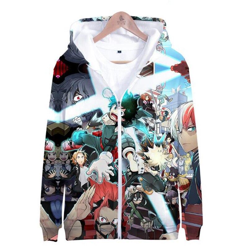 My Hero Academia Zipper Jacket Boku No Hero Academia 3D Hoodie Anime Cosplay Costume School Uniforms Mens Hoodies Sweatshirts