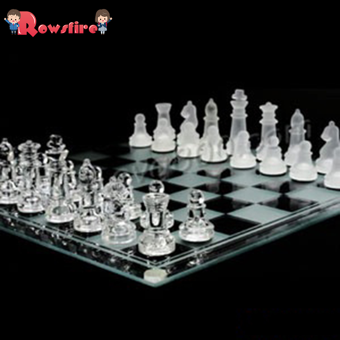 Rowsfire 25*25cm Mind Game Amazing Glass Chess Set With Frosted And Clear Glass Piece Science Toys Playing Christmas Gift