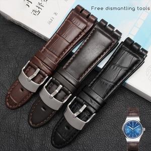 Image 2 - 23MM Genuine Calf Leather Watch Band Steel Clasp For Swatch IRONY YOS440 449 448 401G Watch Strap Watchband Bracelet Wrist Man