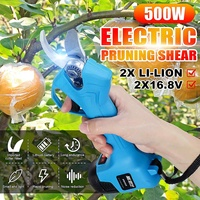 500W 16.8V Wireless Electric Rechargeable Scissors Pruning Shears Tree Garden Tool branches Pruning Tools w/ 2 Li ion Battery
